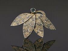 Theodor Fahrner - grüner Turmalin - Blatt Brosche Art Deco – Silber vergoldet