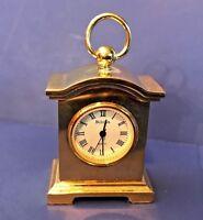 Vintage BULOVA Miniature Carriage Clock 1994 Collectible Brass Clock B0506