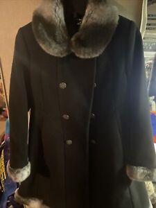 Rothschild Girls Wool Coat 10 Princess Faux Fur Hood Fancy Church Party Black