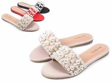 Nude Slip-on Faux Pearl Jewel Open Toe Sandals Women Flip-Flop Slippers Size 7.5