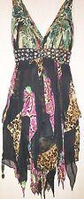 JOVANI Leopard Cheetah Animal Print Layer Bead Silk Cocktail Halter Mini Dress 0