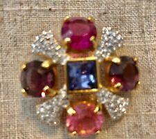 Signed Swarovski Multi Stone Pink Tanzanite Pave Clear Gold Tone Pin Brooch New