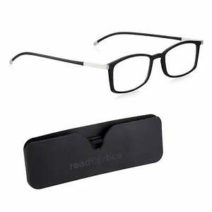 Blue Light Blocking Ultra Thin Black Reading Glasses Flat Case 0.0 1.5 2.0 2.5