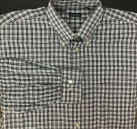 Gitman Bros Gray White Plaid Long Sleeve Button Down Shirt Men's Size XL