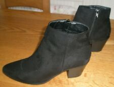 NEW LOOK - BLACK SUEDE EFFECT BOOTS SIZE 6