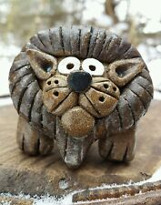 VTG Custom Lion Hand Sculpted Figurine Figure Clay Pottery African Animal Art