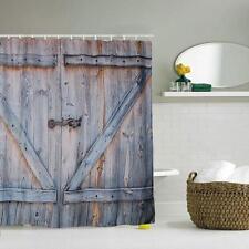rustic barn door shower curtain old wood board vintage bathroom shower curtain