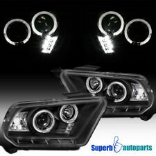 For 2010-2014 Ford Mustang LED Halo Projector Headlights Black