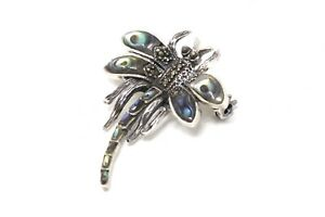 A Lovely Vintage Sterling Silver 925 Marcasite & Abalone Shell Dragonfly Brooch