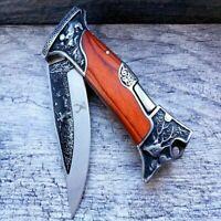 "9"" Engraved Hunting Blade Lockback Folding Pocket Knife Wood Handle 3CR13 Steel"