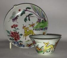 Highly Prized Chinese Kangxi Famille Verte Tea Bowl & Saucer with Deer & Monkeys