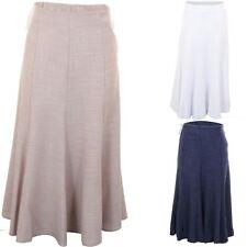 Ladies Linen Tailored Flared Elastic Waist Plus Size Knee Length Plain Skirt