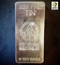 10 Troy Ounce .999 Fine Tin Bullion Bar - Hand Poured & Stamped - Grimm Metals