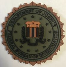 DOJ FBI Federal Bureau Investigation HOOK BACK 3D PVC Olive Drab OD GREEN Patch