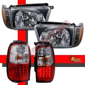 Black Headlights Corner Signal + Red LED Tail Lights For 99-02 Toyota 4Runner