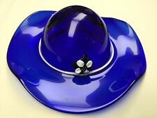 Handcrafted Ladies Glass Hat In Cobalt Blue W/Flower