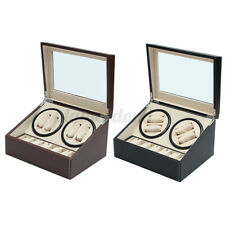 Watch Winder Storage Case Display Box Pu Leather Luxury Automatic Rotation 4+6