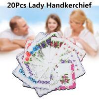 20X Ladies Women Vintage Cotton Quadrate Hankies Floral Handkerchief Decor Gift