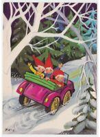P. K-S Sprites por Papá Noel Tarjeta Postal Vintage Automóvil Carretera Nieve