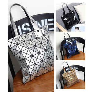 Ladies Tote Geometric Shoulder Bag Women's Laser Plain Folding Handbag Bags New