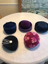 Lot of Five Vintage Ladies Hat 1950's