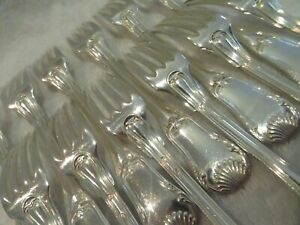 Gorgeous 19th c french 950 silver 12 dinner forks Puiforcat shells LXIV st