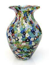 Huge Murano Very High Quality Art Glass Millefiori Murrine Freeform Vase & Label