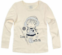 Girls T Shirt New Kids Long Sleeved Cotton Rich Top Cream Age 2 3 4 5 6 7 Years