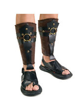 Adult Fancy Dress Roman Greek Warrior Soldier Pair Of Leg Guards Mens Accessory