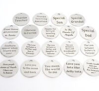 Message token charms,moon,dad, mum, angel,Christmas,father,daughter,quote charm