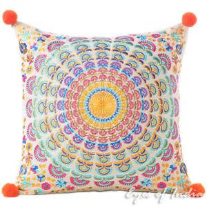 "16"" Orange Purple Embroidered Pillow Mandala Sofa Cushion Cover Case Couch Decor"