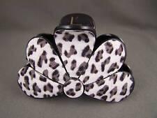 """White Cheetah leopard print plastic 3"""" long barrette big hair clip claw clamp"""