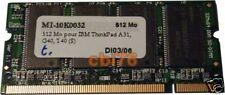 Barrette mémoire Sodimm DDR 512MO/MB PC2100 CL2.5 200PIN 266MHZ PC portable N48