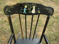 Vintage Oak Hill Child's Boston Rocker Rocking Chair children puppy birds flower