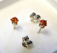 3 mm orange sapphire gems in sterling silver studs