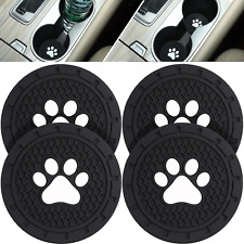 4 Packs Paw Car Coasters Car Cup Holder Coasters Silicone Anti Slip Dog Black