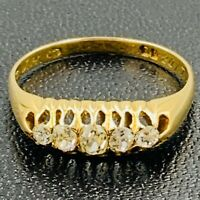 Victorian 18ct Gold Diamond 5 Stone Ring sz S #698