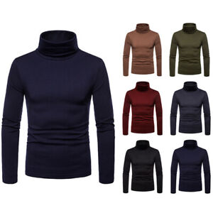 Men Long Sleeve Thermal Cotton High Collar Skivvy Turtle Neck Sweater WinterR;RN