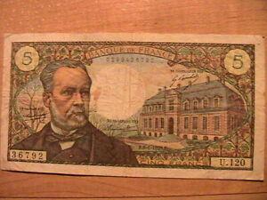 1970 France 5 Francs Fine+ Nice Color Orig Pasteur Banknote Currency Paper Money