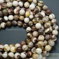 Natural Brown Zebra Jasper Gemstone Round Beads 4mm 6mm 8mm 10mm 12mm 14mm 16""