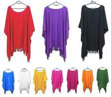 Damen Tunika Bluse Shirt XXL 44 46 48 50 Überwurf UNI Blickdicht in 12 Farben