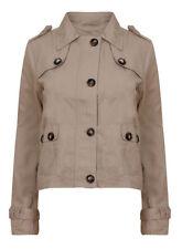Button Cotton No Pattern Plus Size Coats & Jackets for Women