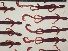 "6"" long, lizard soft plastics, fish bait, 20 lizards per BAG, maroon / red specs"