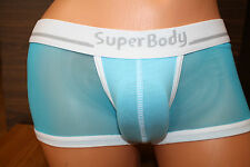 Men Low Rise Blue Stretch See Through Sheer Mesh SISSY Boxer Panty Size L #2531