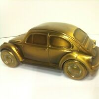 VTG Volkswagen VW Beetle Bug brass? Car Coin Bank by Banthrico 1974