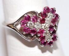 Natural Ruby & Diamond Ring 1+TCW 14k White Gold Size 6.5