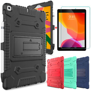"""For iPad 10.2"""" 2020 8th Gen 7th Gen Silicone Stand Case Cover / Screen Protector"""