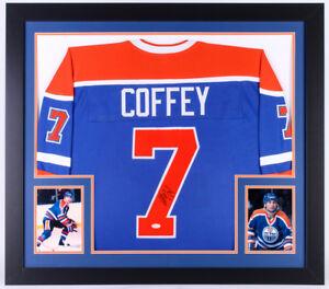 Paul Coffey Signed Edmonton Oilers 31x35 Custom Framed Jersey (JSA COA)