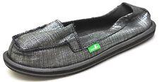 Sanuk OHM MY Black Metallic Sidewalk Surfers Slip Ons Shoes Women's 5 - SWF1157