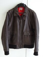Mens Edwin USM Fly Zip Leather Jacket Brown Size XL
